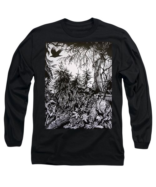 Long Sleeve T-Shirt featuring the drawing Dreaming Alaska.part One by Anna  Duyunova