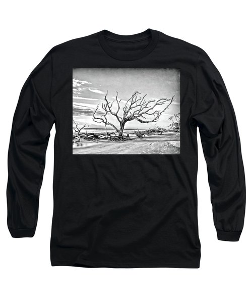 Long Sleeve T-Shirt featuring the photograph Driftwood Beach - Black And White by Kerri Farley