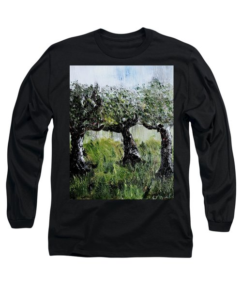Long Sleeve T-Shirt featuring the painting Drizzle by Evelina Popilian