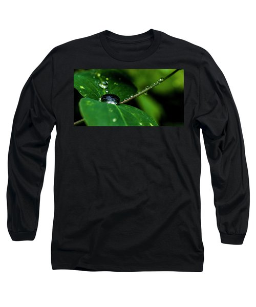 Long Sleeve T-Shirt featuring the photograph Droplets On Stem And Leaves by Darcy Michaelchuk
