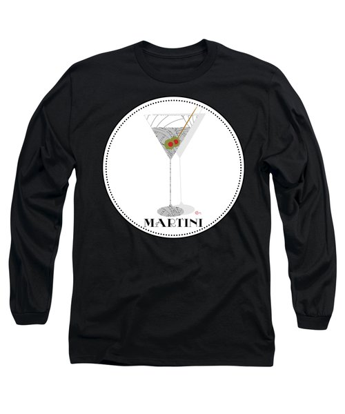 Dry Martini Cocktail Pop Art Deco Long Sleeve T-Shirt by Cecely Bloom
