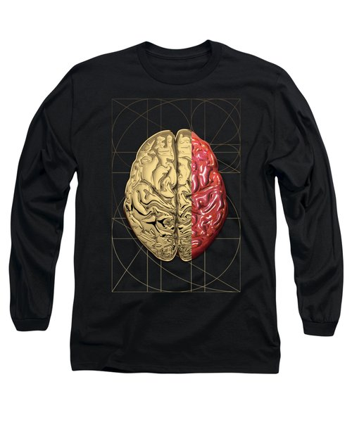 Long Sleeve T-Shirt featuring the digital art Dualities - Half-gold Human Brain On Black And White Canvas by Serge Averbukh