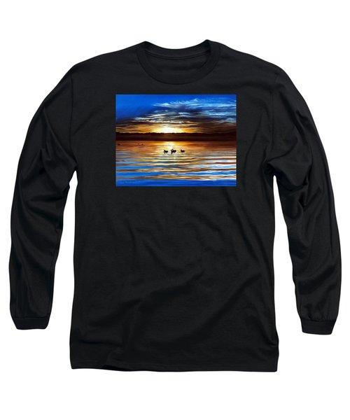 Ducks On Clear Lake Long Sleeve T-Shirt by Linda Becker