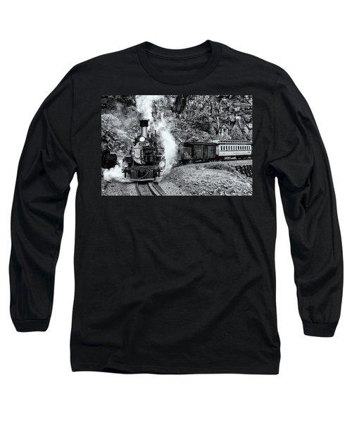 Durango Silverton Train Bandw Long Sleeve T-Shirt