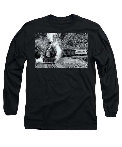 Durango Silverton Train Bandw Long Sleeve T-Shirt
