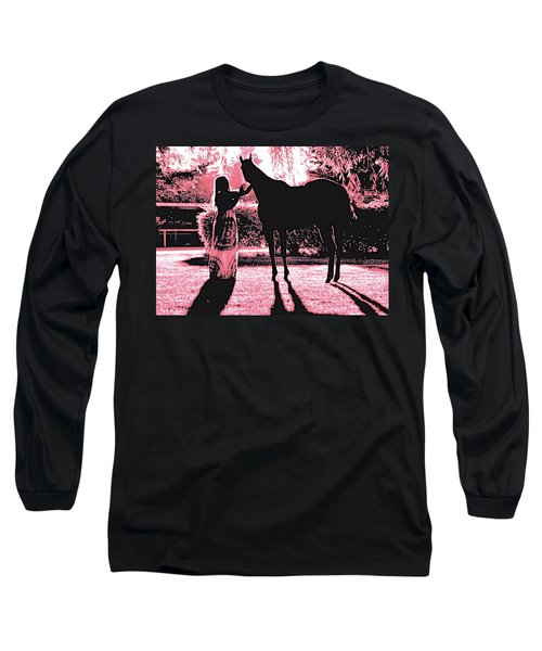 Dylly And Lizzy Pink Long Sleeve T-Shirt by Valerie Rosen