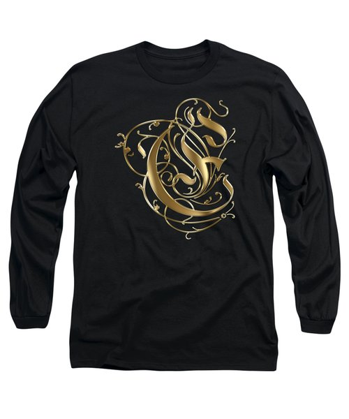 E Golden Ornamental Letter Typography Long Sleeve T-Shirt by Georgeta Blanaru