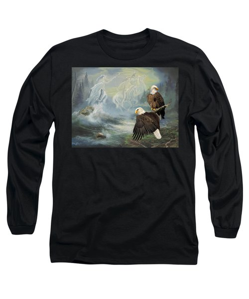 Eagels And Native American  Spirit Riders Long Sleeve T-Shirt