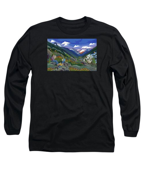Long Sleeve T-Shirt featuring the painting Eagle Boys Learn To Sing by Chholing Taha