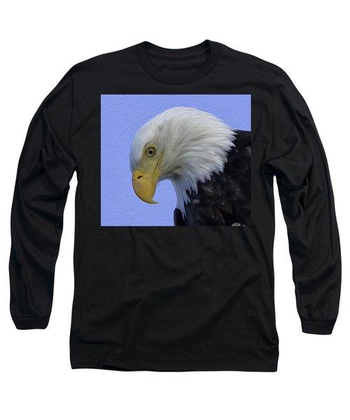 Eagle Head Paint Long Sleeve T-Shirt by Sheldon Bilsker