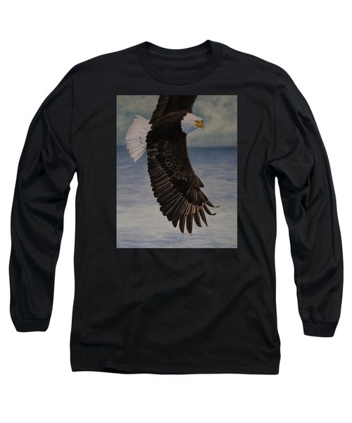 Long Sleeve T-Shirt featuring the painting Eagle - Low Pass Turn by Roena King