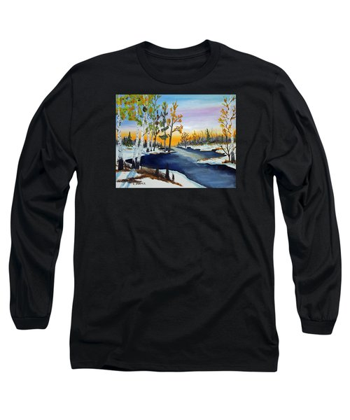 Long Sleeve T-Shirt featuring the painting Early Snow Fall by Jack G Brauer