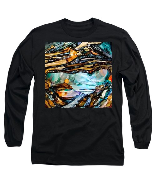 Earth Day Underground Paradise Alcohol Inks Long Sleeve T-Shirt by Danielle  Parent
