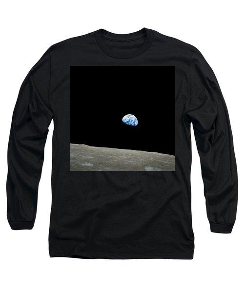 Earthrise - The Original Apollo 8 Color Photograph Long Sleeve T-Shirt by Nasa