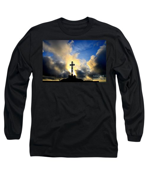 Easter Cross Long Sleeve T-Shirt by Sharon Soberon