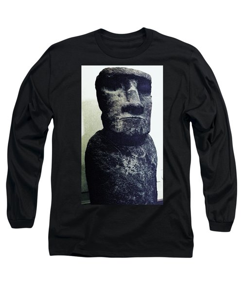 Long Sleeve T-Shirt featuring the painting Easter Island Stone Statue by Eric  Schiabor