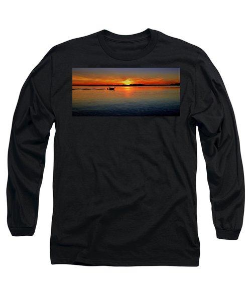 Easy Sunday Sunset Long Sleeve T-Shirt by Allen Beilschmidt