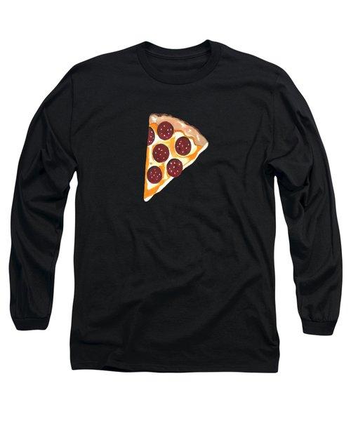 Eat Pizza Long Sleeve T-Shirt by Kathleen Sartoris