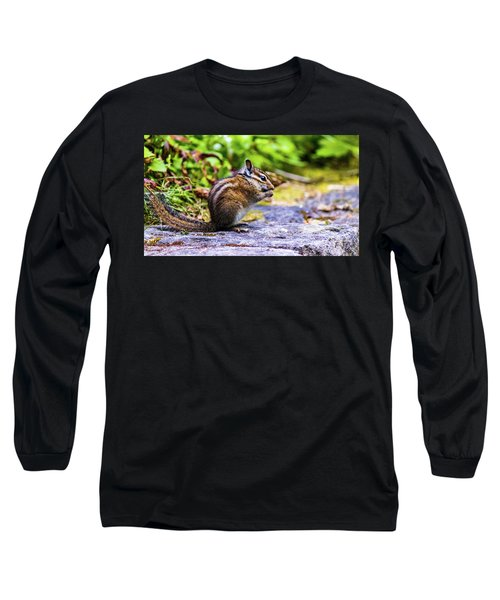 Long Sleeve T-Shirt featuring the photograph Eating Chipmunk by Jonny D
