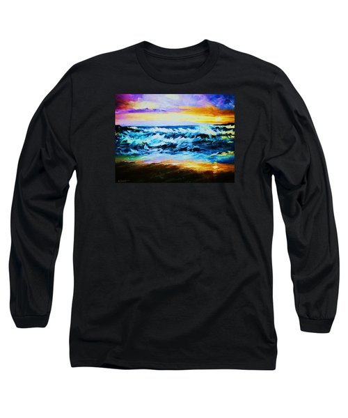 Long Sleeve T-Shirt featuring the painting Ebb Tide At Sunset by Al Brown