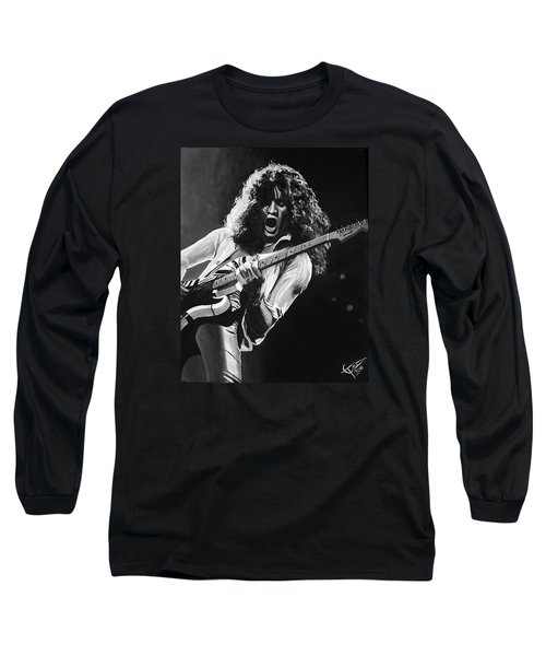 Eddie Van Halen - Black And White Long Sleeve T-Shirt by Tom Carlton