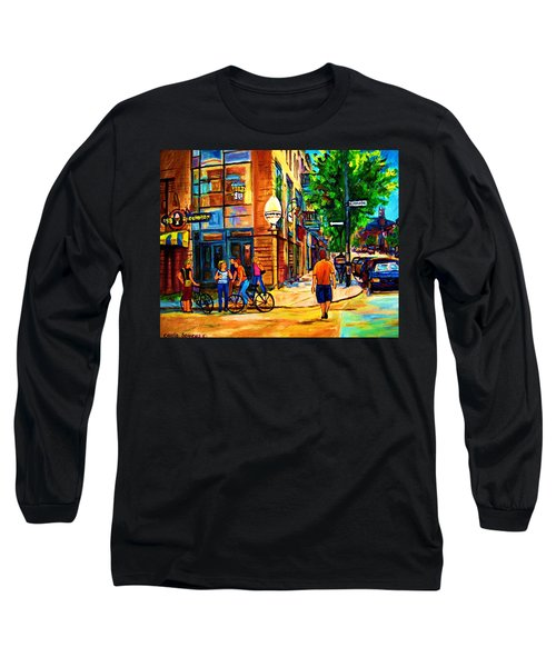 Long Sleeve T-Shirt featuring the painting Eggspectation Cafe On Esplanade by Carole Spandau