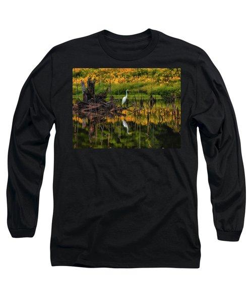Egret Art  Long Sleeve T-Shirt