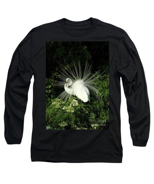 Egret Fan Dancer Long Sleeve T-Shirt