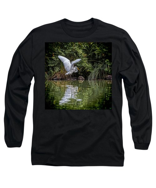 Egret Hunting For Lunch Long Sleeve T-Shirt