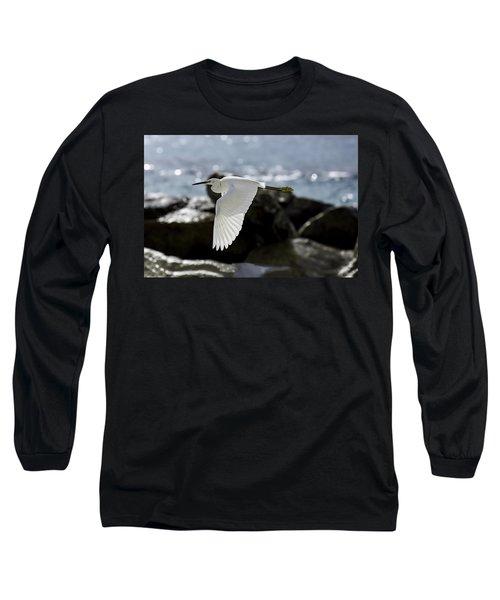 Egret In Flight Long Sleeve T-Shirt