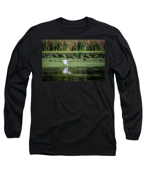 Egret Over Wetland Long Sleeve T-Shirt by Ray Congrove