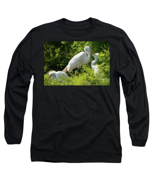 Egrets With Their Young Long Sleeve T-Shirt