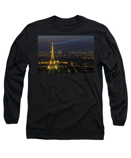 Eiffel Tower At Night Long Sleeve T-Shirt by Sebastian Musial
