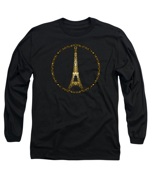 Eiffel Tower Gold Glitter Sparkles On Black Long Sleeve T-Shirt