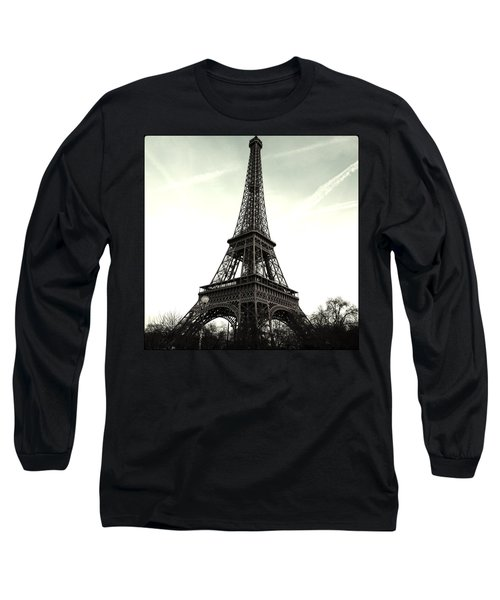 Eiffel Tower, Greyscale Long Sleeve T-Shirt