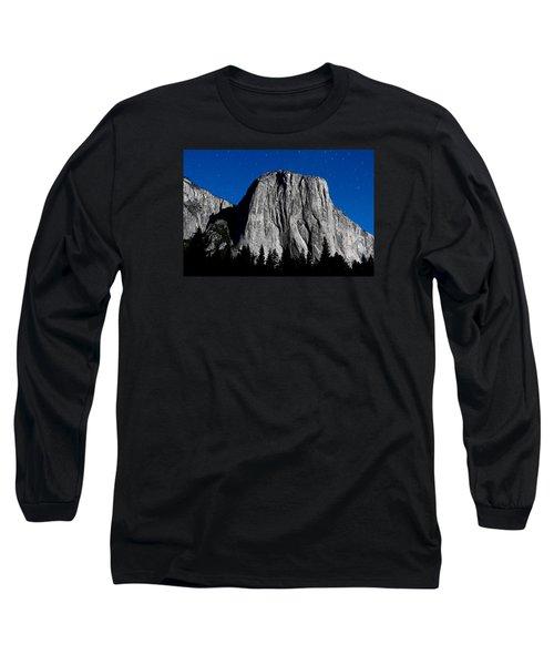 El Capitan Under A Full Moon Long Sleeve T-Shirt by Rick Furmanek