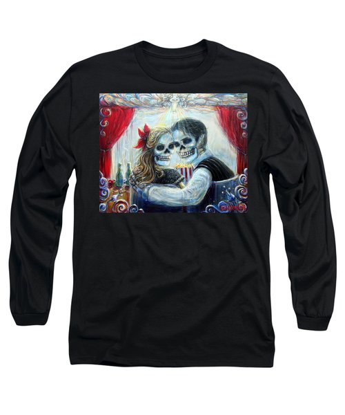 Long Sleeve T-Shirt featuring the painting El Cine by Heather Calderon