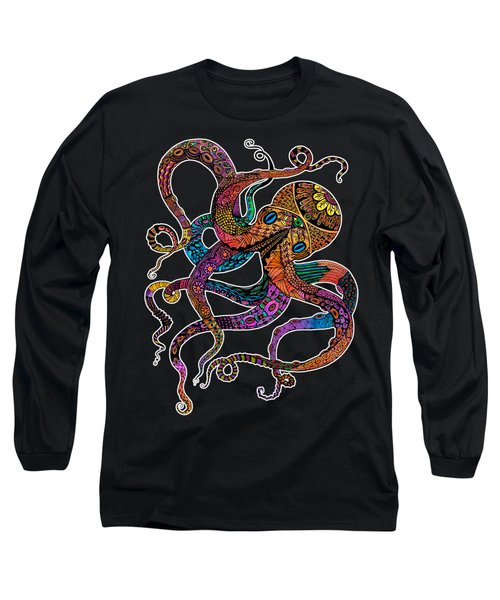 Electric Octopus On Black Long Sleeve T-Shirt by Tammy Wetzel
