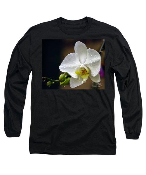 Elegance In White Long Sleeve T-Shirt