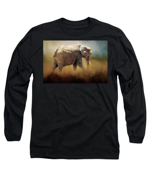 Long Sleeve T-Shirt featuring the photograph Elephant In The Mist by David and Carol Kelly