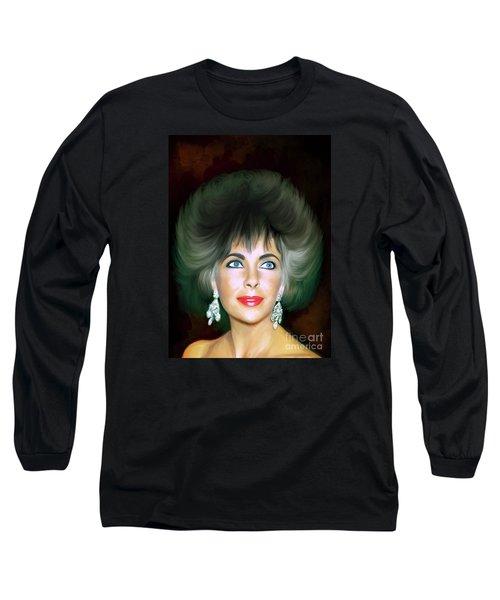Long Sleeve T-Shirt featuring the painting Elizabeth 2 by Andrzej Szczerski