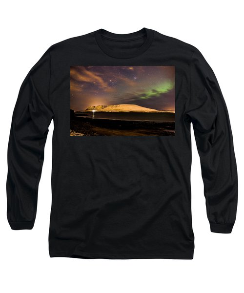 Elv Or Troll And Viking With A Sword In The Northern Light Long Sleeve T-Shirt