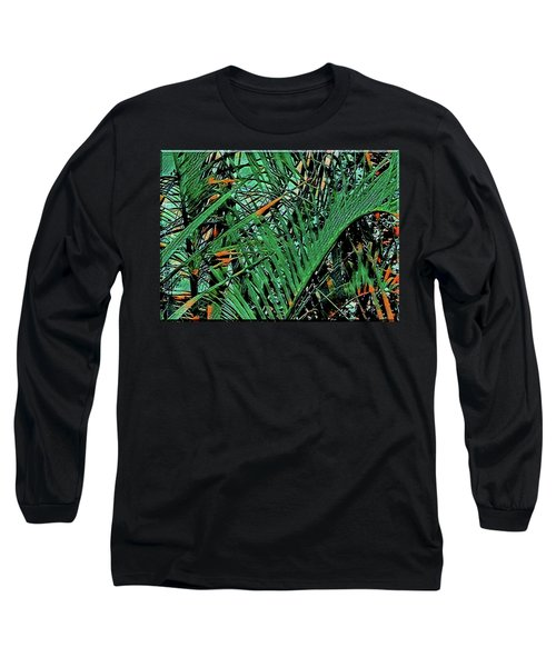 Long Sleeve T-Shirt featuring the digital art Emerald Palms by Mindy Newman