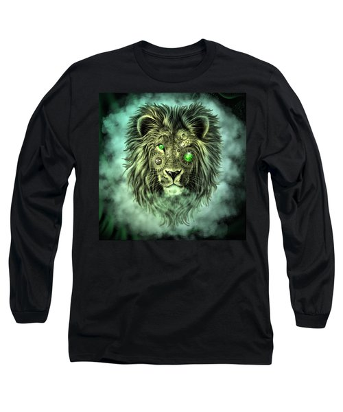 Emerald Steampunk Lion King Long Sleeve T-Shirt
