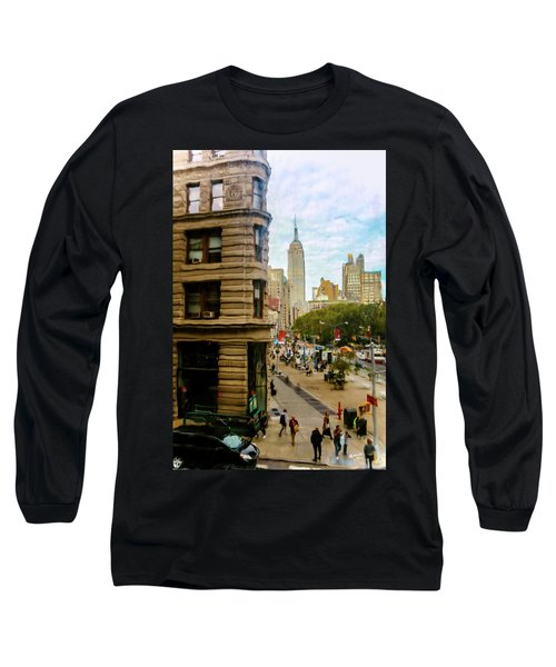 Long Sleeve T-Shirt featuring the photograph Empire State Building - Crackled View by Madeline Ellis