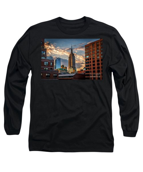 Empire State Building Sunset Rooftop Long Sleeve T-Shirt