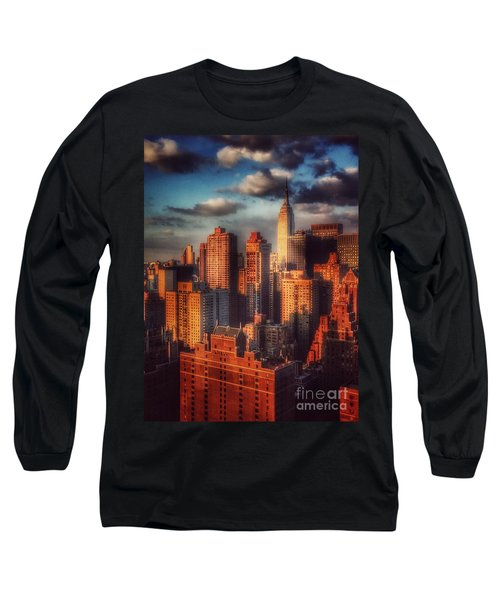 Empire State In Gold Long Sleeve T-Shirt by Miriam Danar