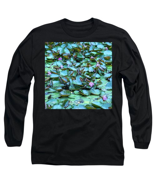 Long Sleeve T-Shirt featuring the photograph Painted Water Lilies by Theresa Tahara