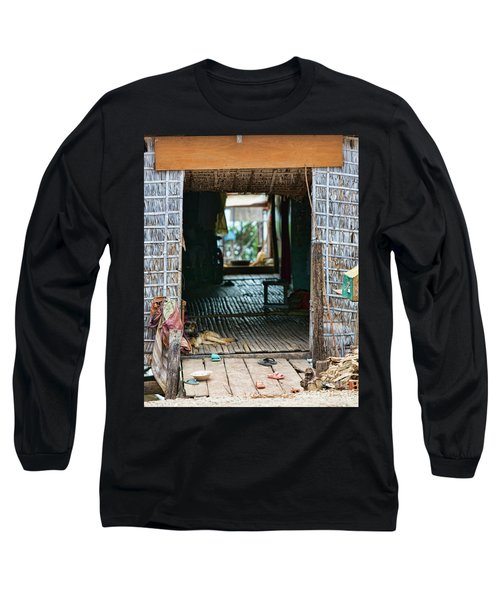 Entrance To Tonle Sap Home  Long Sleeve T-Shirt by Chuck Kuhn