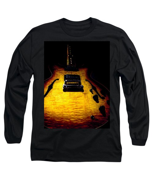 Long Sleeve T-Shirt featuring the digital art Es-335 Dots Flame Burst Spotlight Series by Guitar Wacky